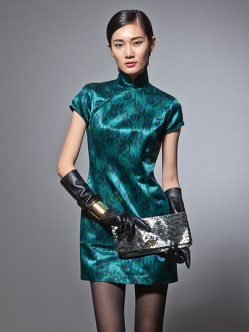 Watercolour Ikat print silk blend Qipao dress in green