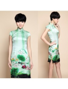 A pretty dress with print of a painting of lotus pond and a pair of mandarin ducks.